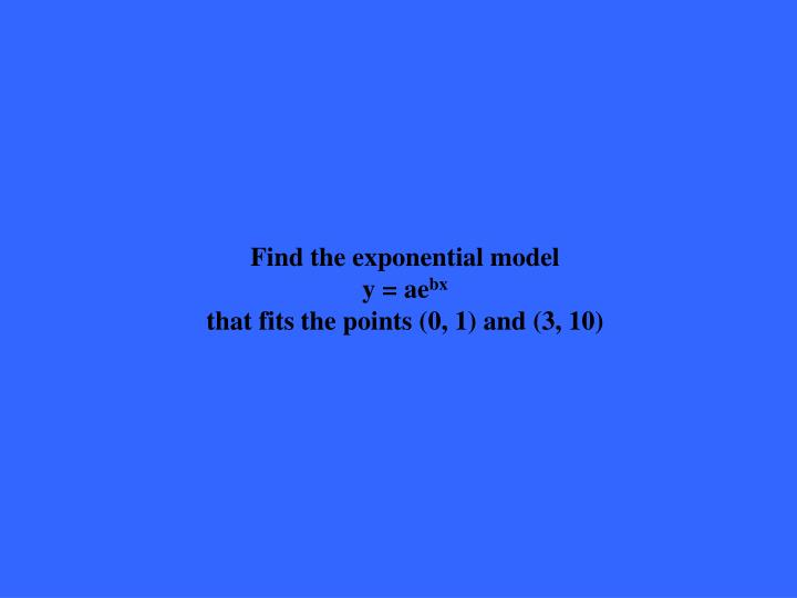 Find the exponential model