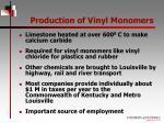 production of vinyl monomers