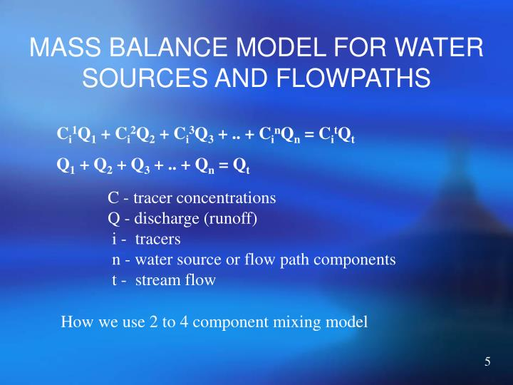 MASS BALANCE MODEL FOR WATER SOURCES AND FLOWPATHS