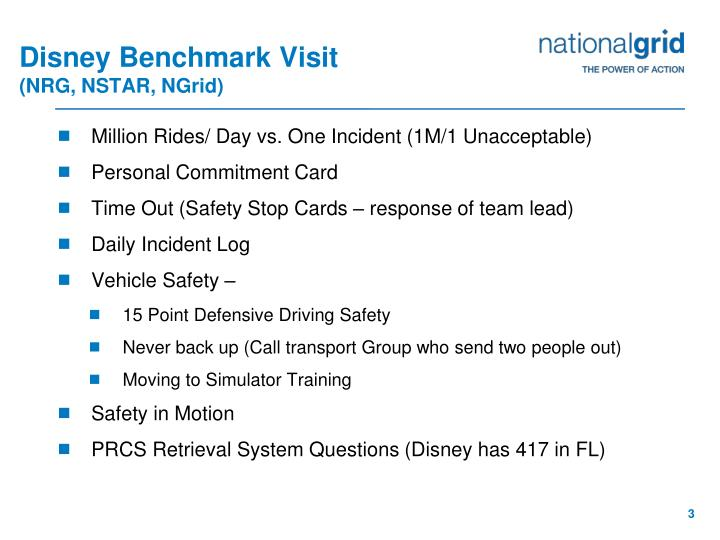 Disney benchmark visit nrg nstar ngrid