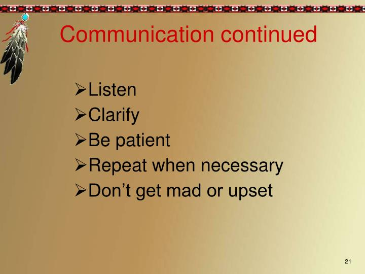 Communication continued