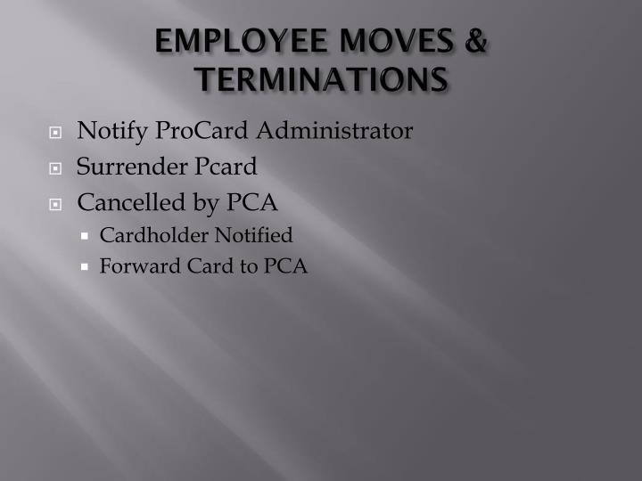 EMPLOYEE MOVES & TERMINATIONS