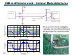 esd on differential clock common mode disturbance