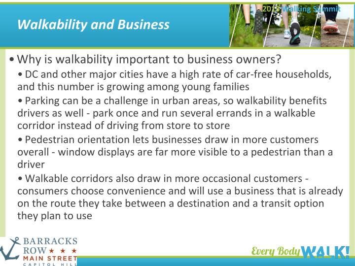 Walkability and Business