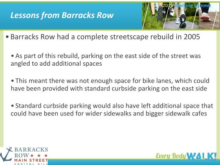 Lessons from Barracks Row