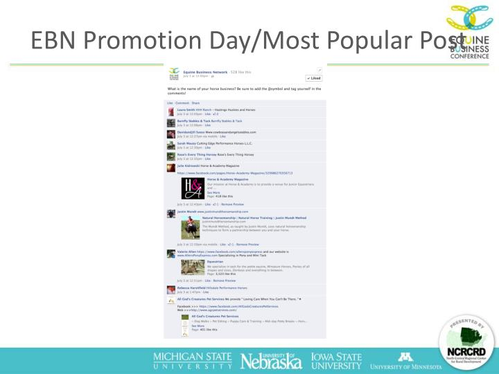 EBN Promotion Day/Most Popular Post