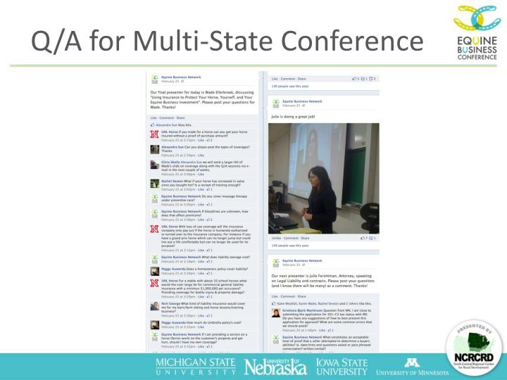 Q/A for Multi-State Conference