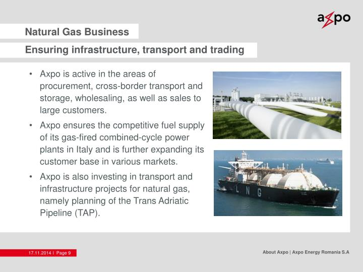 Ensuring infrastructure, transport and trading