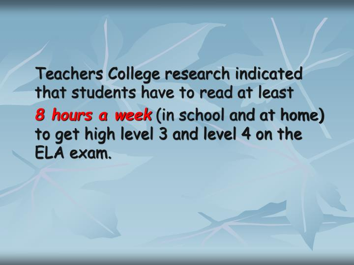 Teachers College research indicated that students have to read at least
