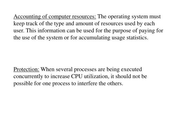 Accounting of computer resources: