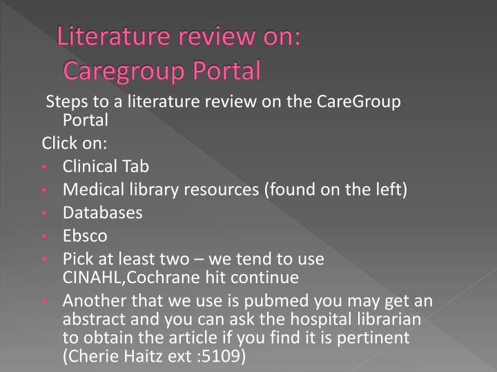 Literature review on: