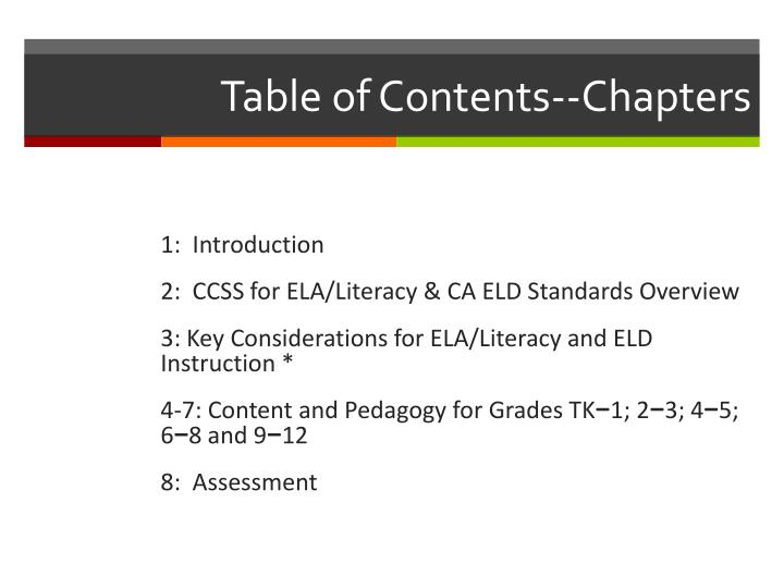 Table of Contents--Chapters
