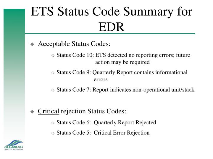 ETS Status Code Summary for EDR