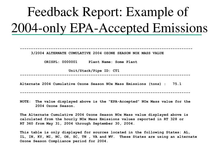 Feedback Report: Example of