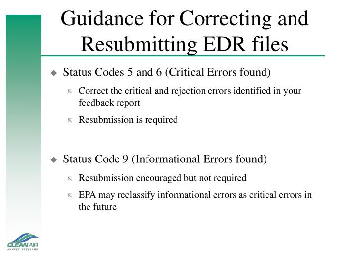 Guidance for Correcting and Resubmitting EDR files