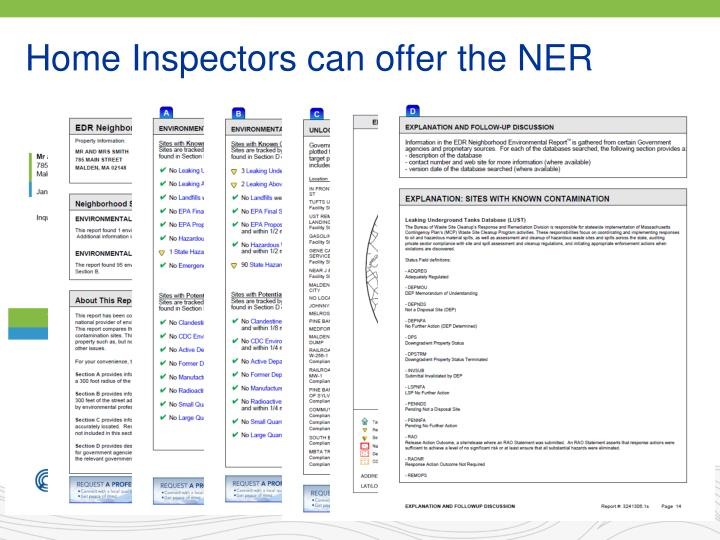 Home Inspectors can offer the NER