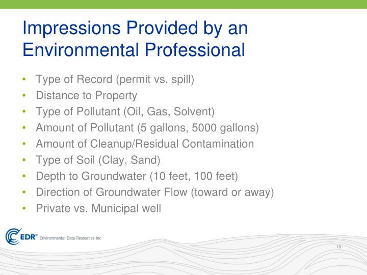Impressions Provided by an Environmental Professional
