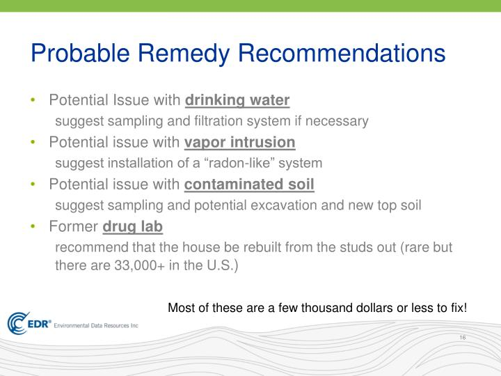 Probable Remedy Recommendations