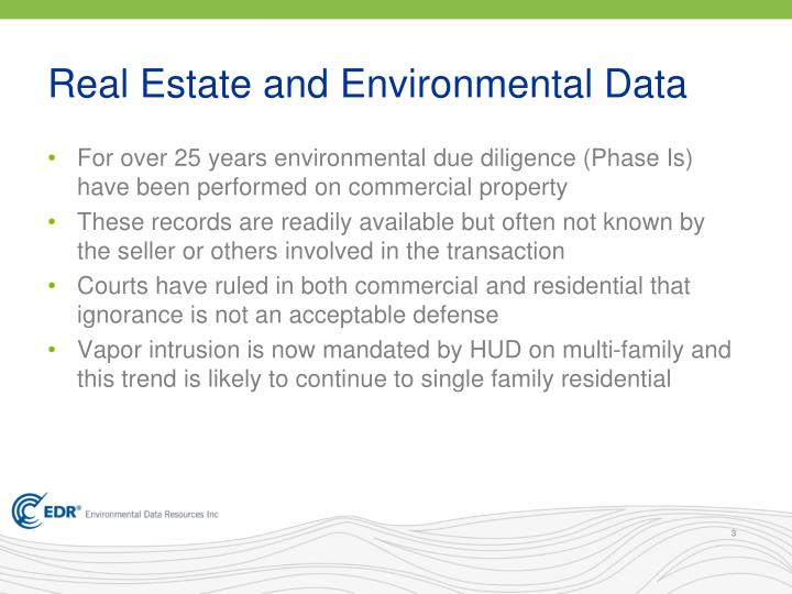 Real estate and environmental data