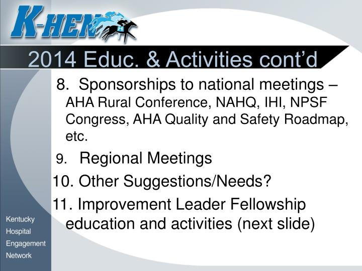 2014 Educ. & Activities cont'd