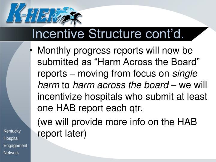 Incentive Structure cont'd.