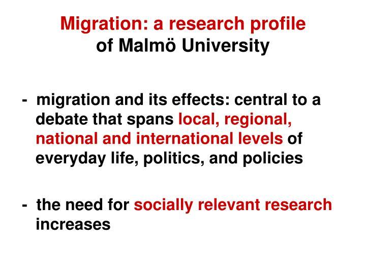 Migration: a research profile
