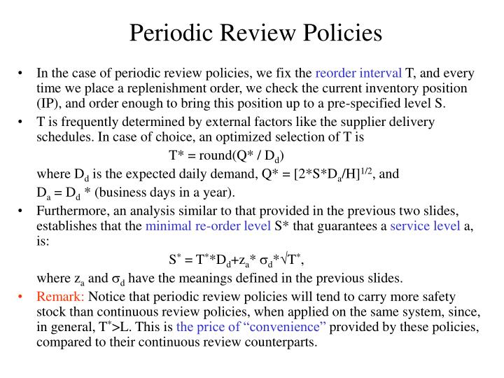 Periodic Review Policies