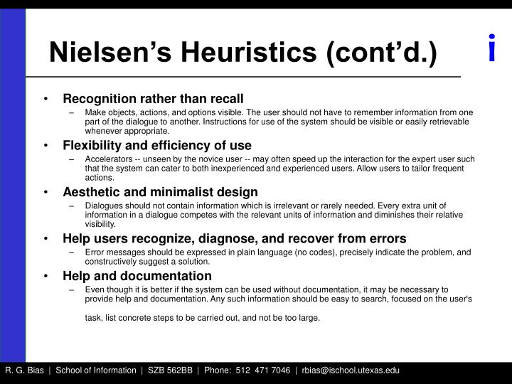 Nielsen's Heuristics (cont'd.)