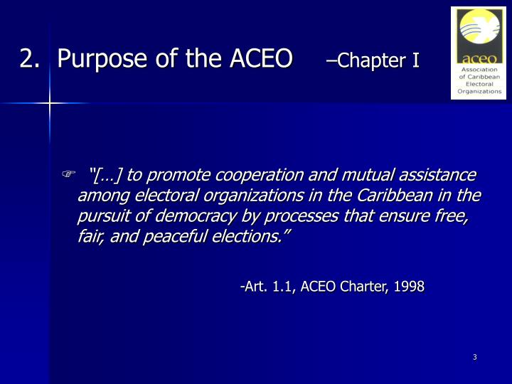 2 purpose of the aceo chapter i