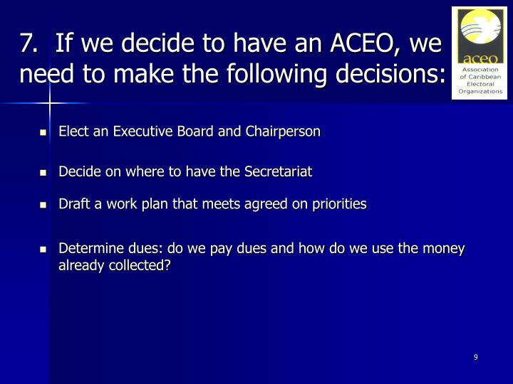 7.  If we decide to have an ACEO, we need to make the following decisions: