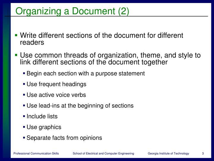Organizing a document 2