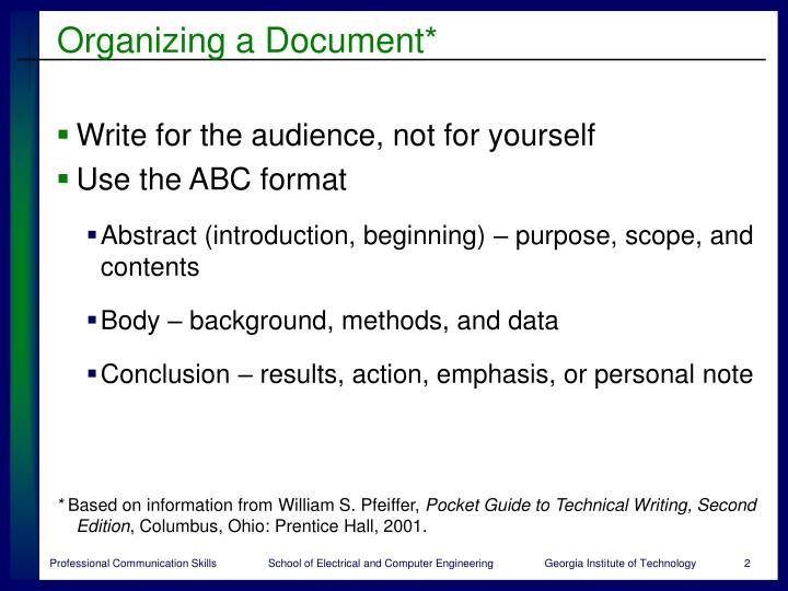 Organizing a document