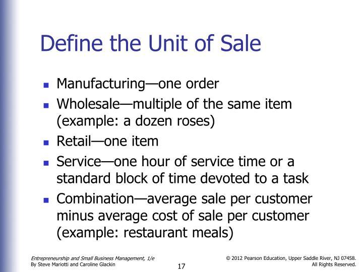 Define the Unit of Sale