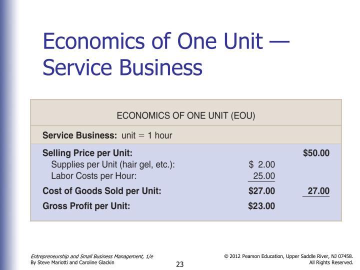 Economics of One Unit — Service Business