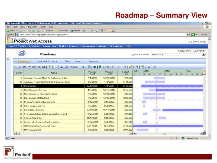 Roadmap – Summary View