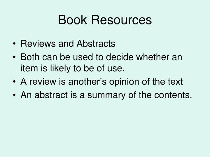 Book Resources
