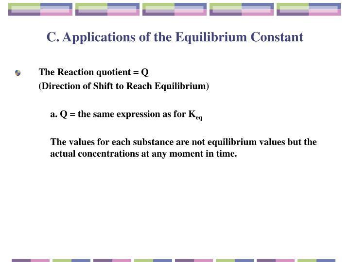 C. Applications of the Equilibrium Constant