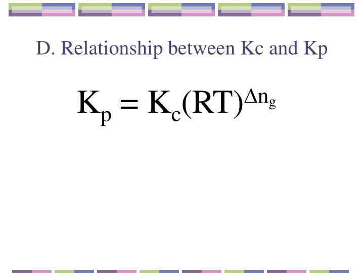 D. Relationship between Kc and Kp