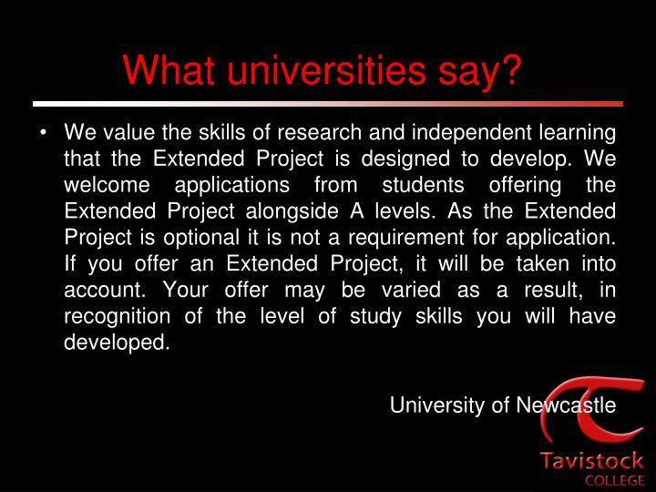 What universities say?