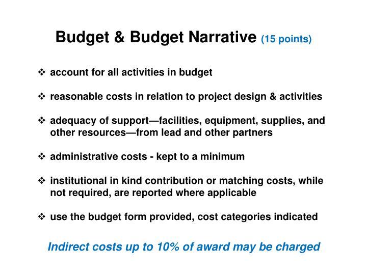 Budget & Budget Narrative