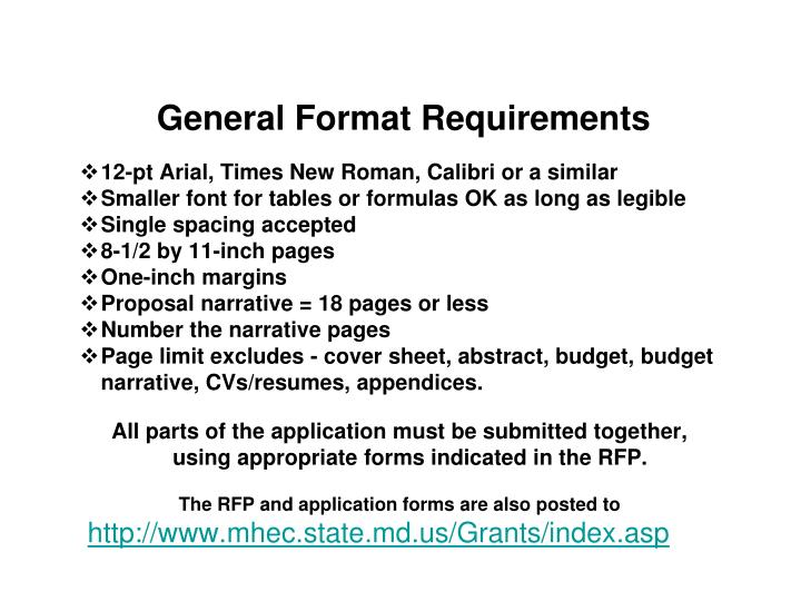 General Format Requirements