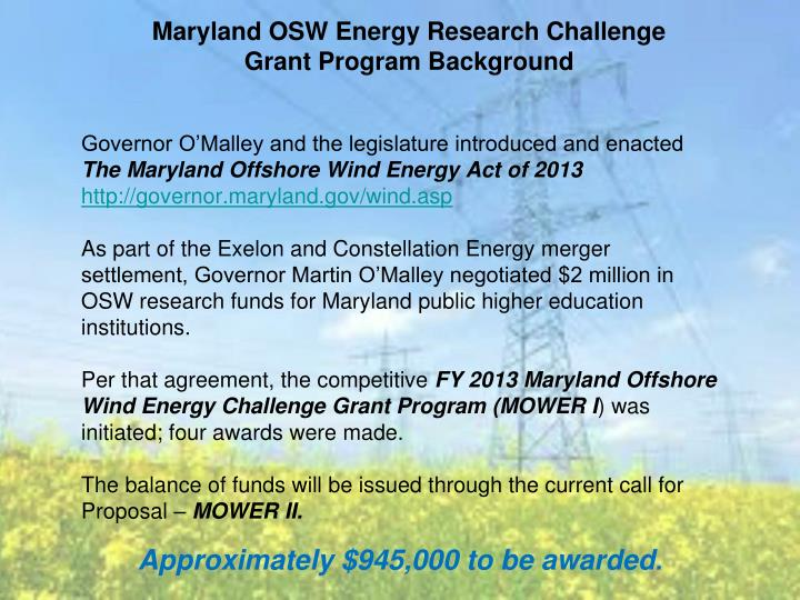 Maryland osw energy research challenge grant program background