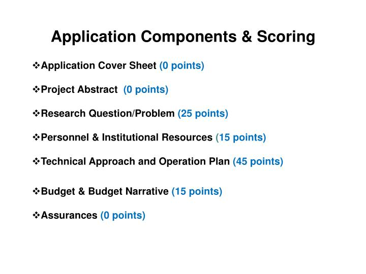 Application Components & Scoring