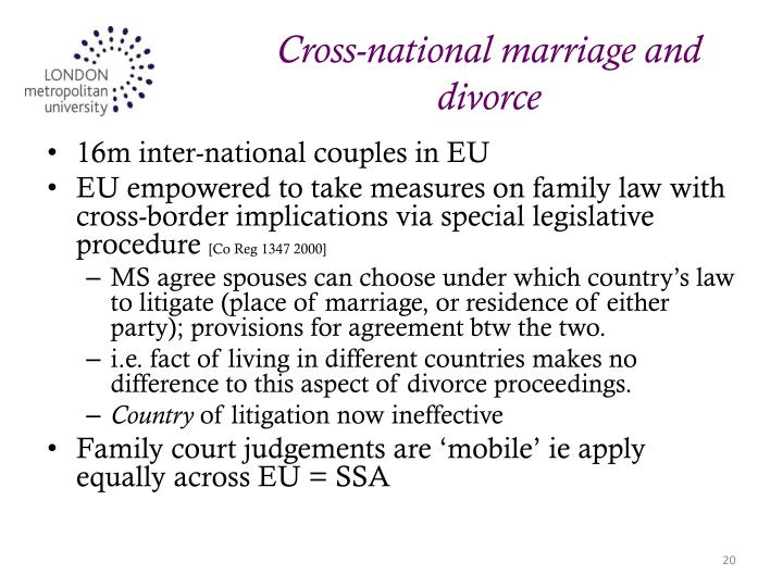 Cross-national marriage and divorce