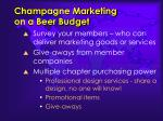 champagne marketing on a beer budget