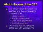 what is the role of the ca