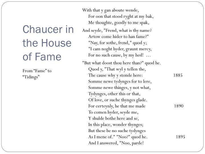 Chaucer in the house of fame