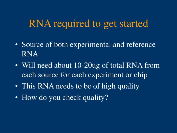 RNA required to get started