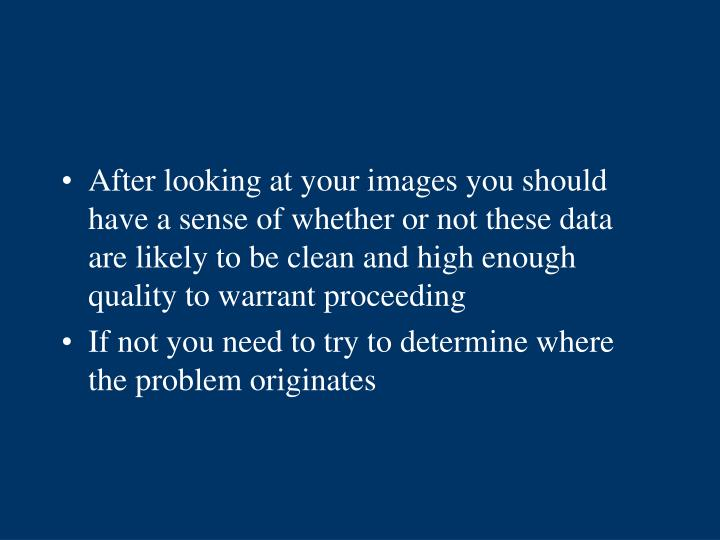 After looking at your images you should have a sense of whether or not these data are likely to be clean and high enough quality to warrant proceeding
