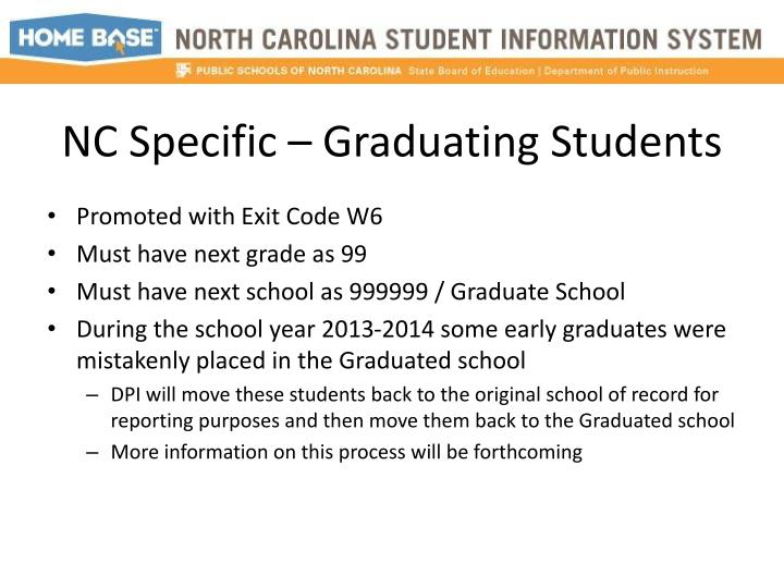 NC Specific – Graduating Students